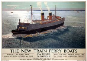 The New Train Ferry Boats, Southern Railway travel poster Print